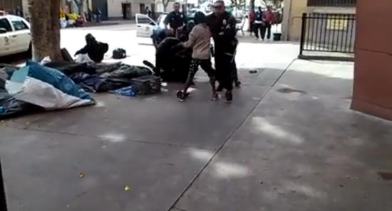 Screenshot of moment right before police shot and killed a homeless man on Skid Row in Los Angeles
