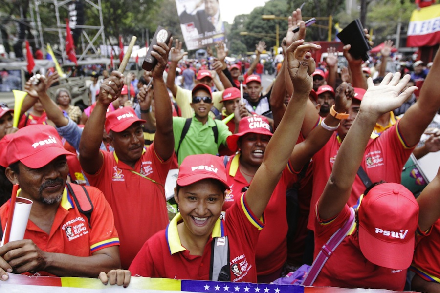 Chavistas at a rally in Venezuela.