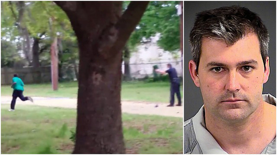 Michael Slager murdering Walter Scott on the left; public mugshot on the right