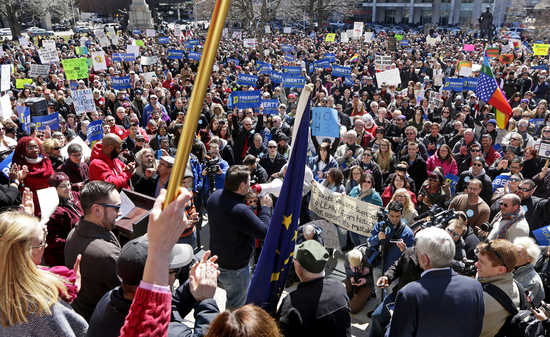 "2,000+ people gathered in Indiana to protest the so called ""religious liberty"" bill."