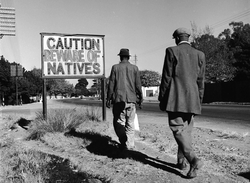 A sign during apartheid-era South Africa.