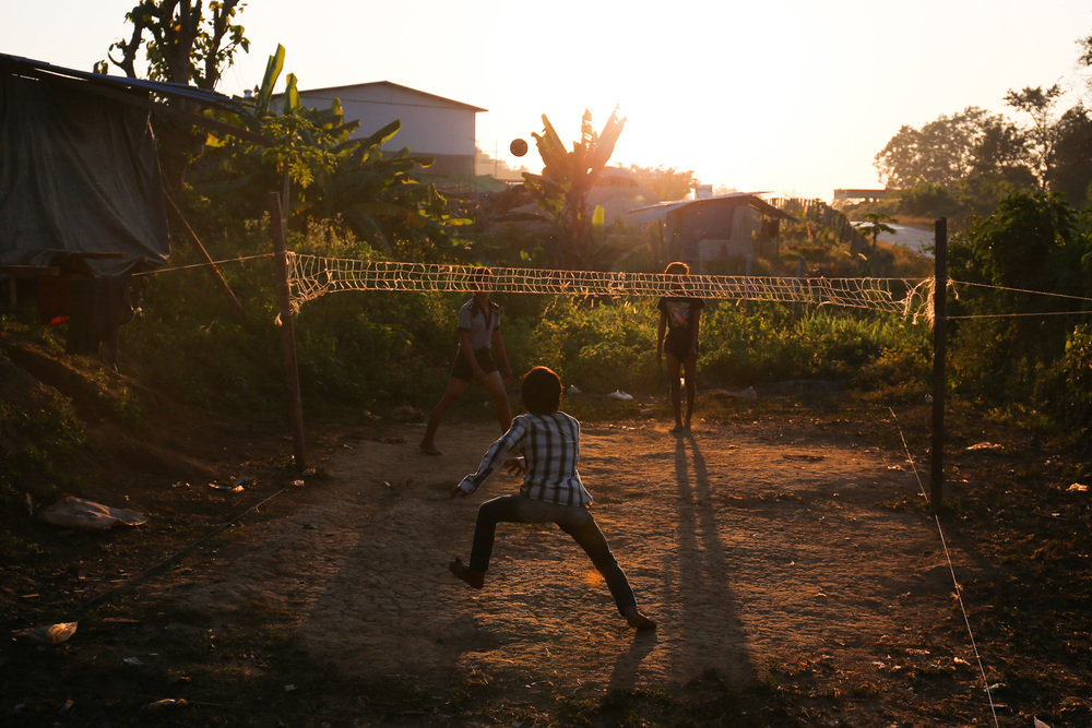 Young men play the popular southeast Asian sport sepak takraw, or kick volleyball, at sunset in Hsipaw. Admittedly they didn't sustain many long volleys, but then again, the pros on youtube make it look entirely too easy.