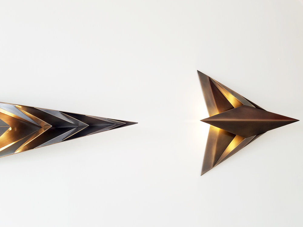 Parenthetical Light  (detail) | Fabricated silicon bronze | 19.5 x 105 x 9"