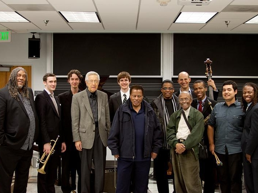 With the Thelonious Monk Institute of Jazz Class of 2014, and L to R: James Newton, Kenny Burrell, Wayne Shorter, Herbie Hancock, Jimmy Heath