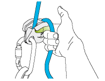 2. Use the index finger to support the GRIGRI.