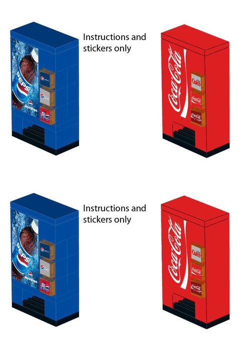Pepsi Coca Cola Vending Machine Stickers For Lego Home