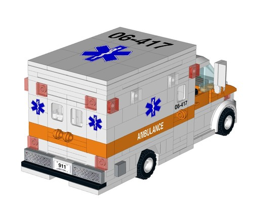 Lego Orange Ambulance Instructions And Stickers Home