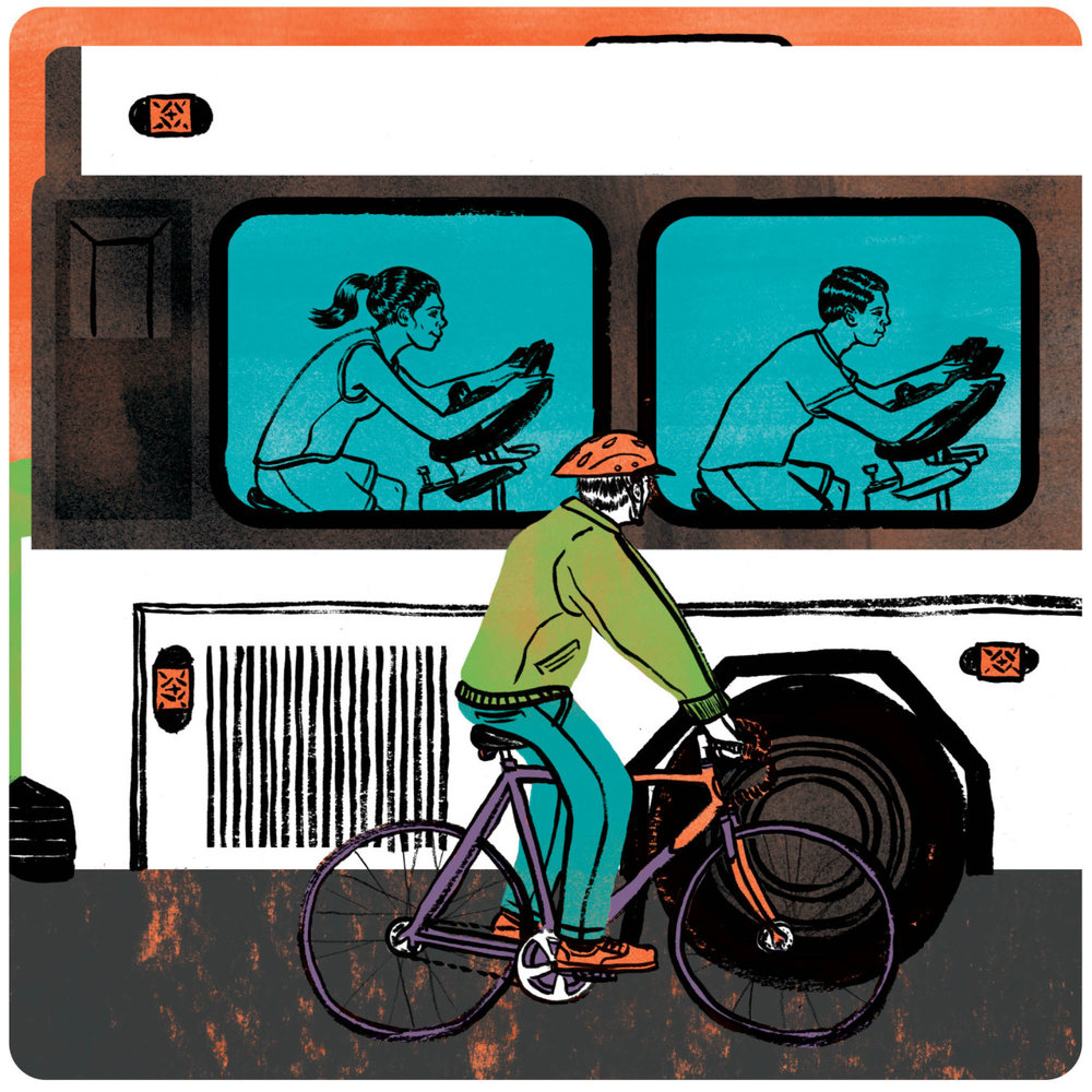 Spin city (BikeBus)  |  Boston Globe Magazine   BikeBus is a new bus service in Boston where you can take a spin class on your commute or to get different views of the city.  Art Direction: Greg Klee