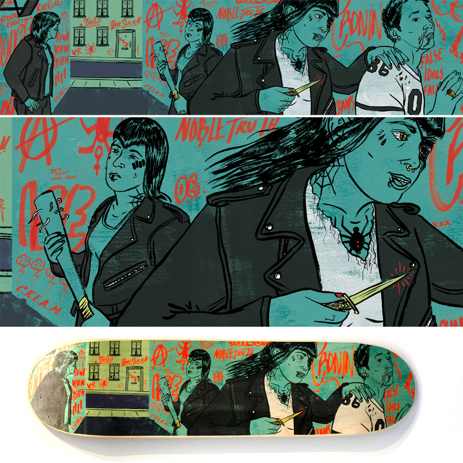Skate Decks and prints are now available at the Light Grey Art Lab Store:  http://shop.lightgreyartlab.com/product/black-widows-gang-by-daniel-fishel    You can also visit the  Light Grey Art Lab  in Minneapolis, MN to see my deck and a bunch of others on display.