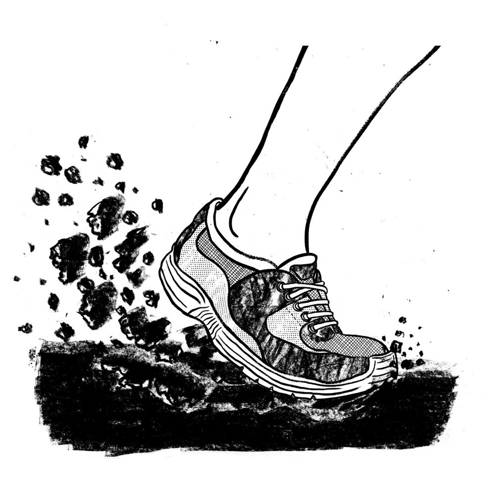 A killed t-shirt design for a running app. Would of been cool to see printed. The idea was the force of your run would destroy the ground your running on.
