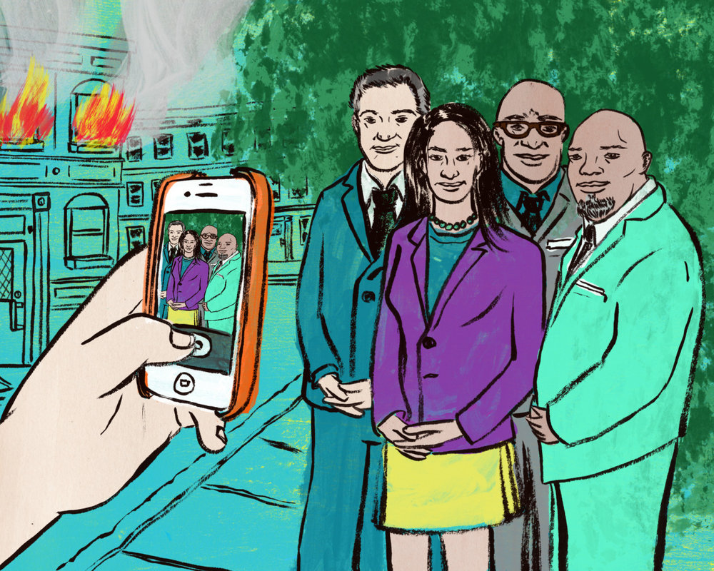 "For my recent  Dallas Observer  column piece I illustrated, I did it for a story about a panel discussion sponsored by the  Dallas Morning News . The topic was about how they would propose to bring North and South Dallas together and build ""economic development, education and opportunity."" Their idea's seem overly optimistic and privileged when there are a lot of problems that they are simply ignoring that keeps North and South Dallas separated. Lots of hot air I guess for their token conversation.    Read about it here…  Jim really hits the hammer to the head on this one."
