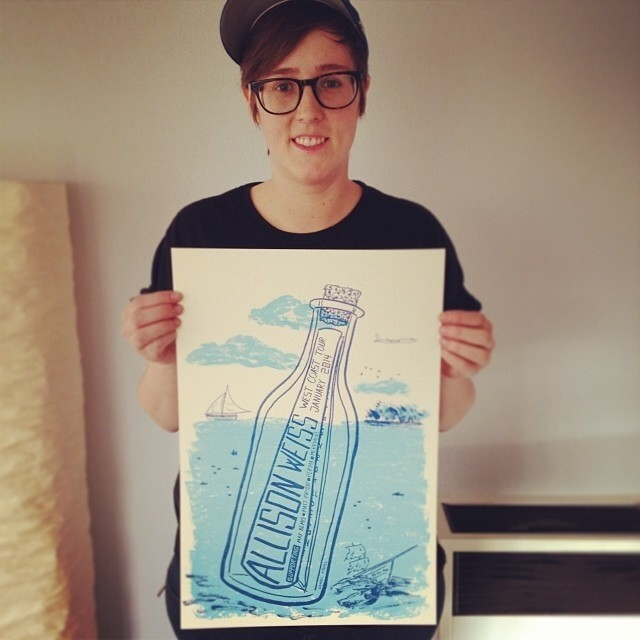.@allisonweiss holding my freshly screen printed poster, printed by @davekloc