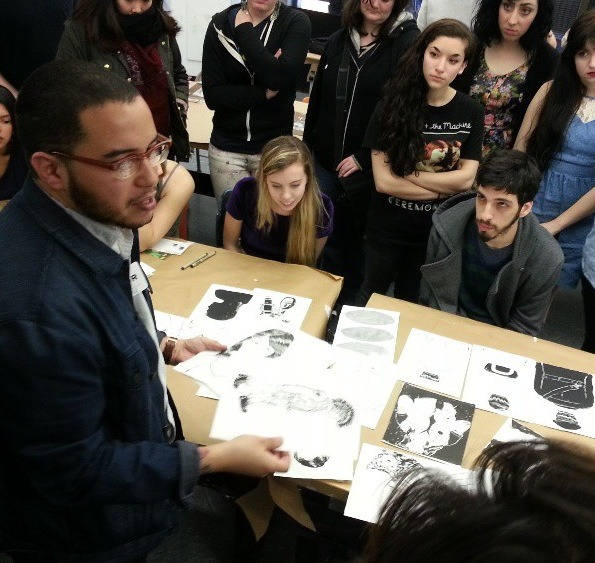 A few weeks ago I had the chance to talk with students at  Massachusetts College of Art and Design , as well at  Montclair State University . I had a lot of fun visiting both schools and talking with the students. Doing these talks really humble me and gives me a lot of satisfaction when I can help out a student with the direction of their work or talk about the business of illustration. I am really looking forward to the day that I can become an educator at an art school or university.  (hint hint: heads of illustration departments)    Anyways, I am always open to taking emails from students and recent graduates who have questions about this crazy career. But I ask, Please refer to my FAQ before hitting me up:  Click here!     Big thanks to  Scott Bakal  and  Chris Gash  for inviting me to your institutions. Photo above is by Scott Bakal at MassArt.