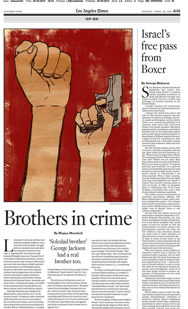 I did a quick turn around for Sundays  LA Times  Op-Ed. How fast you say? On Thursday I got asked for my availability at 1pm, received the article at 6pm, got final sketch approval at 11:30pm, and finished the final at 3 am. Gotta love overnight illustrations.   The article is about an incarcerated older brother who was involved in the Black Panthers in the 1960's and his influence on his younger brother. His younger brother stood up a court room to seek revenge on a judge who sent his brother to prison and would later be taken down. That's just a  summary of what it's about but it is actually a lot more chilling than I described.   Art Direction: Wes Bausmith (Thanks!)    Click here to read about it….