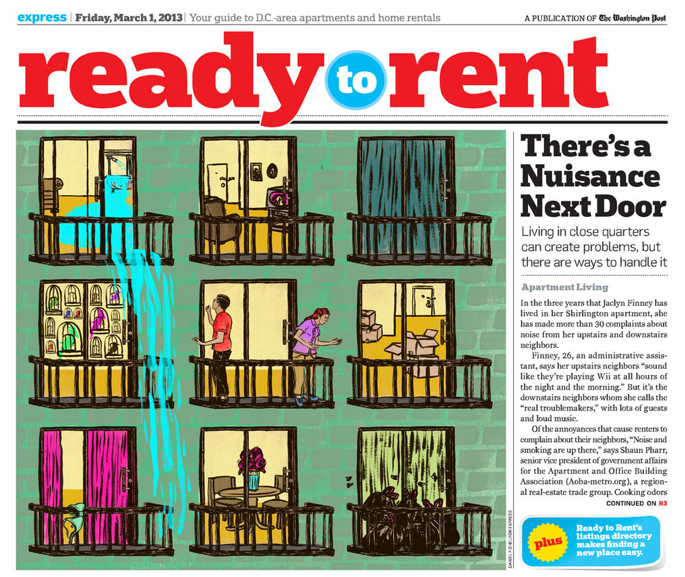 Here is a quick illustration I did for the  Washington Post Express  that came out last Friday about living next to difficult neighbors. Art Director: Adam Griffiths