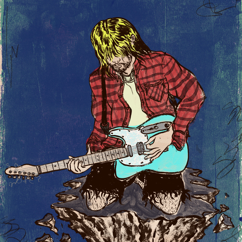 "This is a portrait of Kurt Cobain I did for the  ""Kurt and the Gang"" sticker book , published by BELLY KIDS (UK). The art direction was simple. It can be anything about Nirvana or anyone having to do with Nirvana. I wanted to illustrate Kurt because I felt like I needed to draw upon my feelings of his final days. I still remember the Mtv Breaking News.     Lately the sticker books have been getting a bit of press.  I am really glad to see this happen because this is one of the first couple of projects to get their small press off the ground. So I feel really good contributing to the beginning of a new publisher to be a venue for illustrated printed matter."