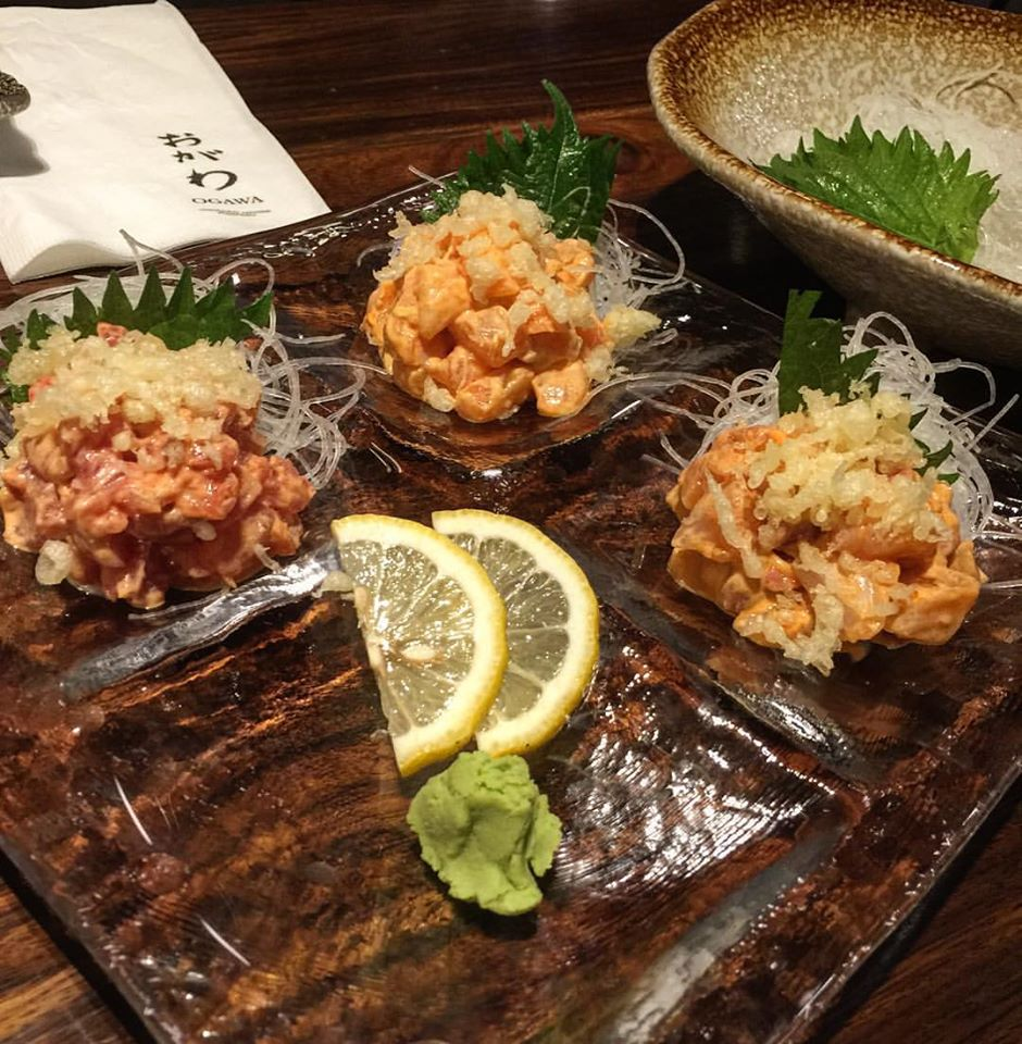 Winner.  😜  3 kinds of spicy sashimi: tuna, salmon and lapu-lapu.  �    #OgawaManila