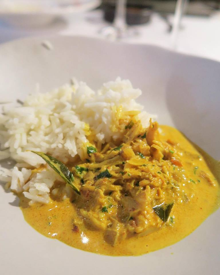 "So much win: crab in ""comfort curry"" and coconut milk with fragrant basmati rice. Yummeh!"