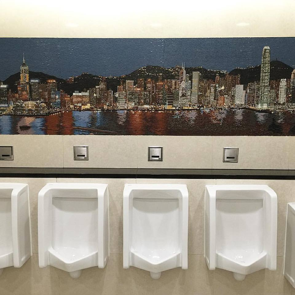 "And as I wait to go home, I pee in front of the prettiest urinal mural (""ural"") I've ever seen. Well done, Hong Kong. Sa uulitin!"