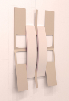 Matt Keegan,  Crossed w/ Strips (Soft Pink) , 2014,   spray- finished laser-cut steel, pigmented silicon, 32 1/2 x 23""