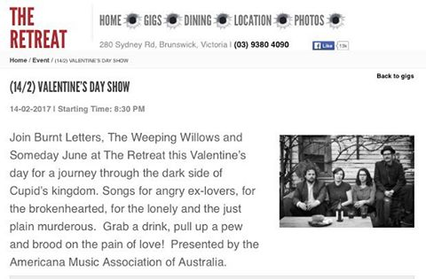 What this says. #livemusic #melbourne #goddamnvalentinesday @theweepingwillows @somedayjune