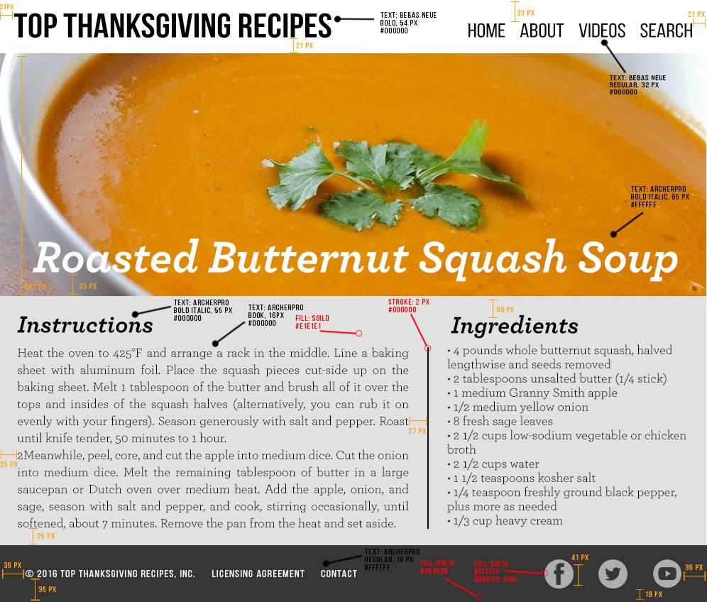Thanksgiving Recipe Spec Sheet