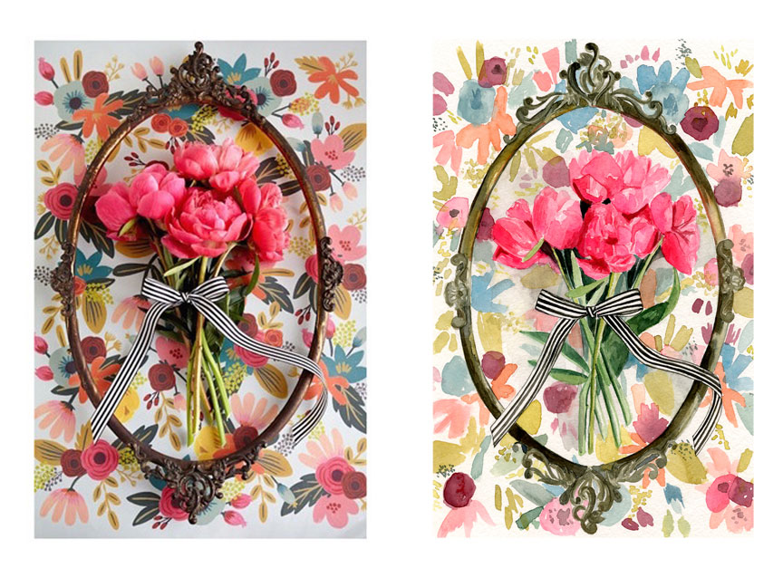 Left: Photo by  Liz Daly , Styling by Rebecca Summer. Right: Painting by  Lindsay Gardner , Watercolor and gouache on paper, appx. 7 x 10""