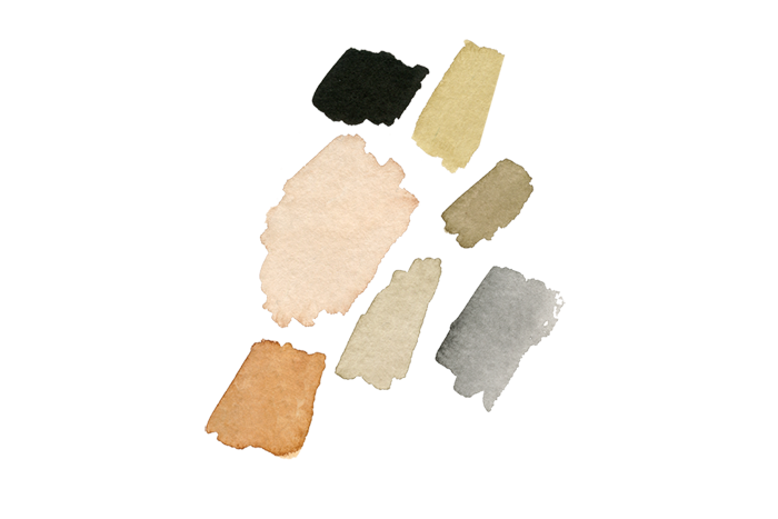 The earth tone- inspired color palette I developed for her overall branding