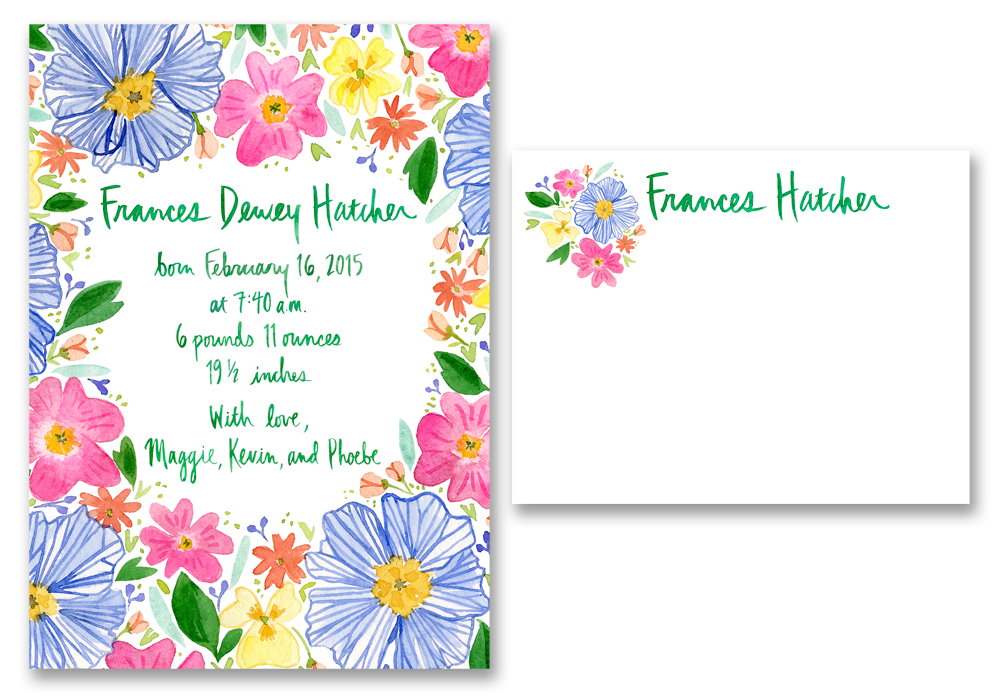 The final birth announcement and Frances' coordinating custom stationery