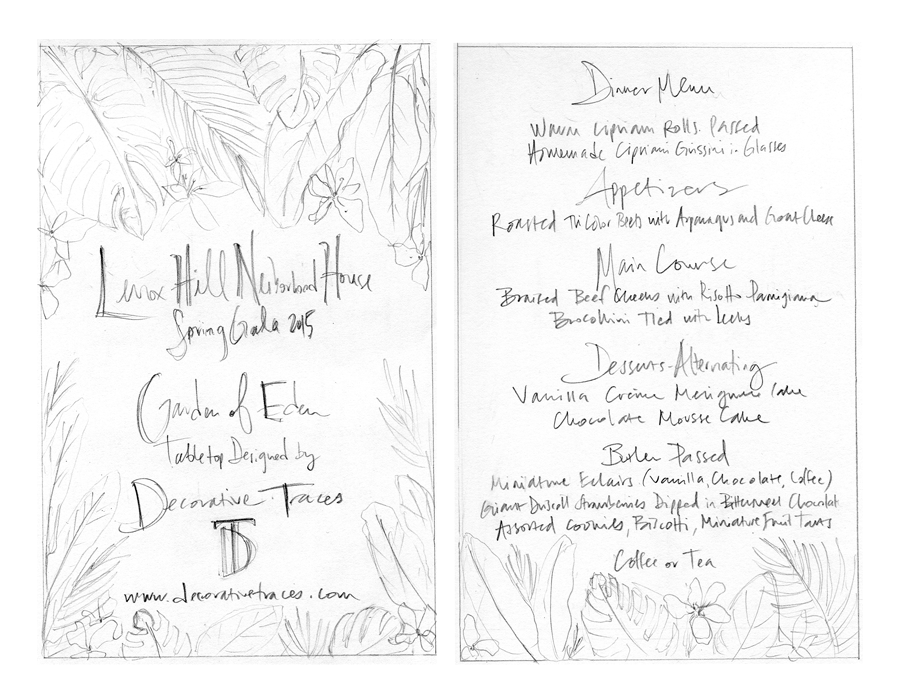 Sketches of the menu front and back