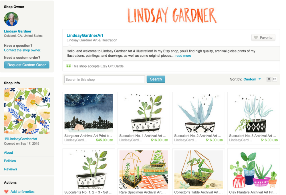 Screenshot of my Etsy Shop Page!