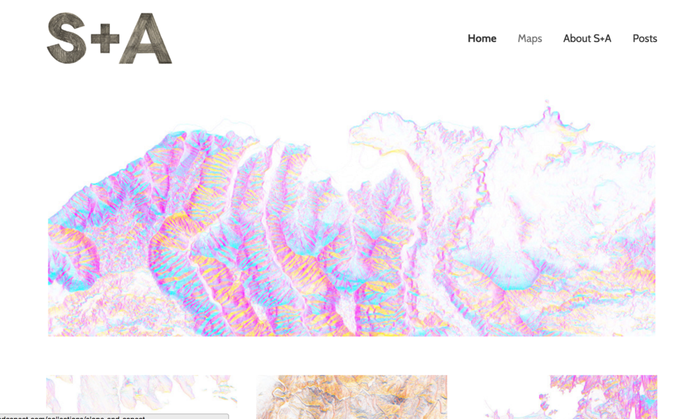 Screenshot of the Slope + Aspect's landing page
