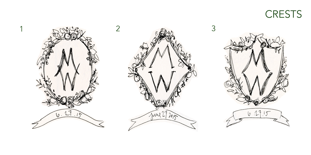 Above: various crest sketches