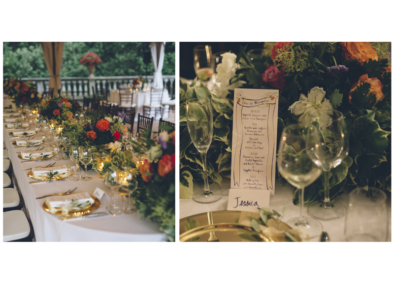 Above: menus and place cards amid stunning table arrangements at the wedding reception. Images by  Lelia Scarfiotti.