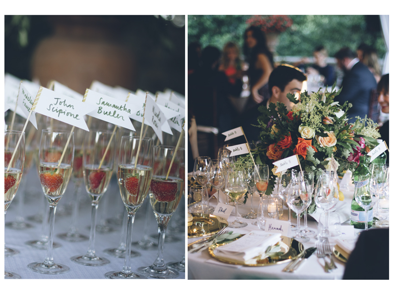 Above Left: my hand-lettered escort cards soaking up some bubbly. Above right: the tables incorporating the escort cards, place cards and menus along side gorgeous floral arrangements. Images by Lelia Scarfiotti.