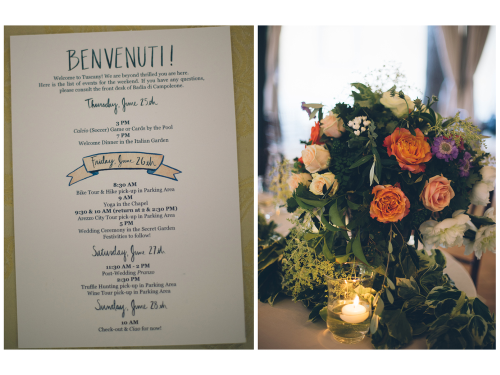 Above left: various hand-lettered components incorporated with Danielle & Brad's wedding weekend itinerary. Above right: Image by Lelia Scarfiotti.