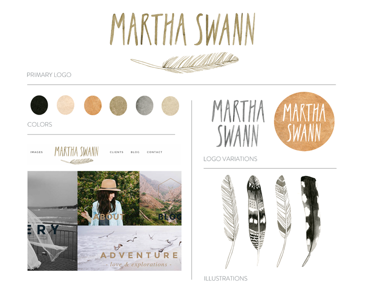 Hand-lettered logo and branding package for Martha Swann Photography, including color palette and illustrations for web.