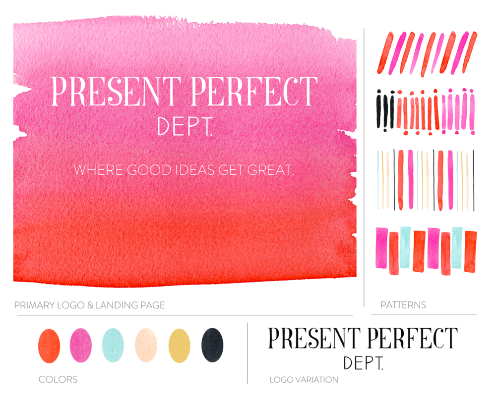 Hand-lettered logo and branding package for Present Perfect Department, including color palette and illustrations for web.