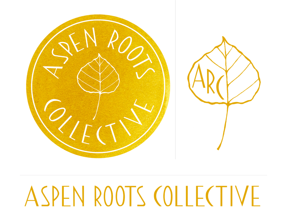Hand-lettered logo package for  Aspen Roots Collective , included color palette and variations for print and web.