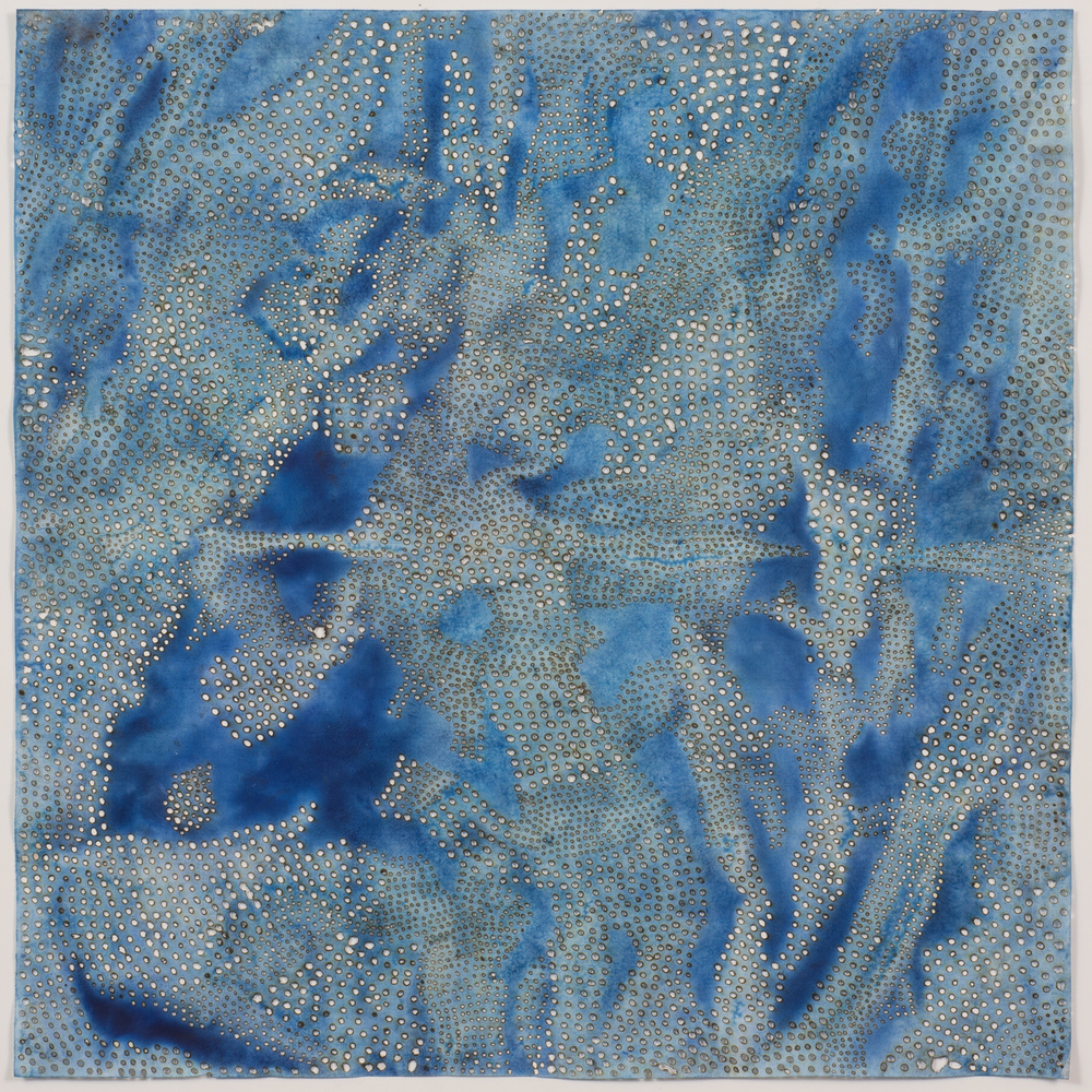 "Blue 5,  2015  solar-burned pigmented paper  22"" x 22"""
