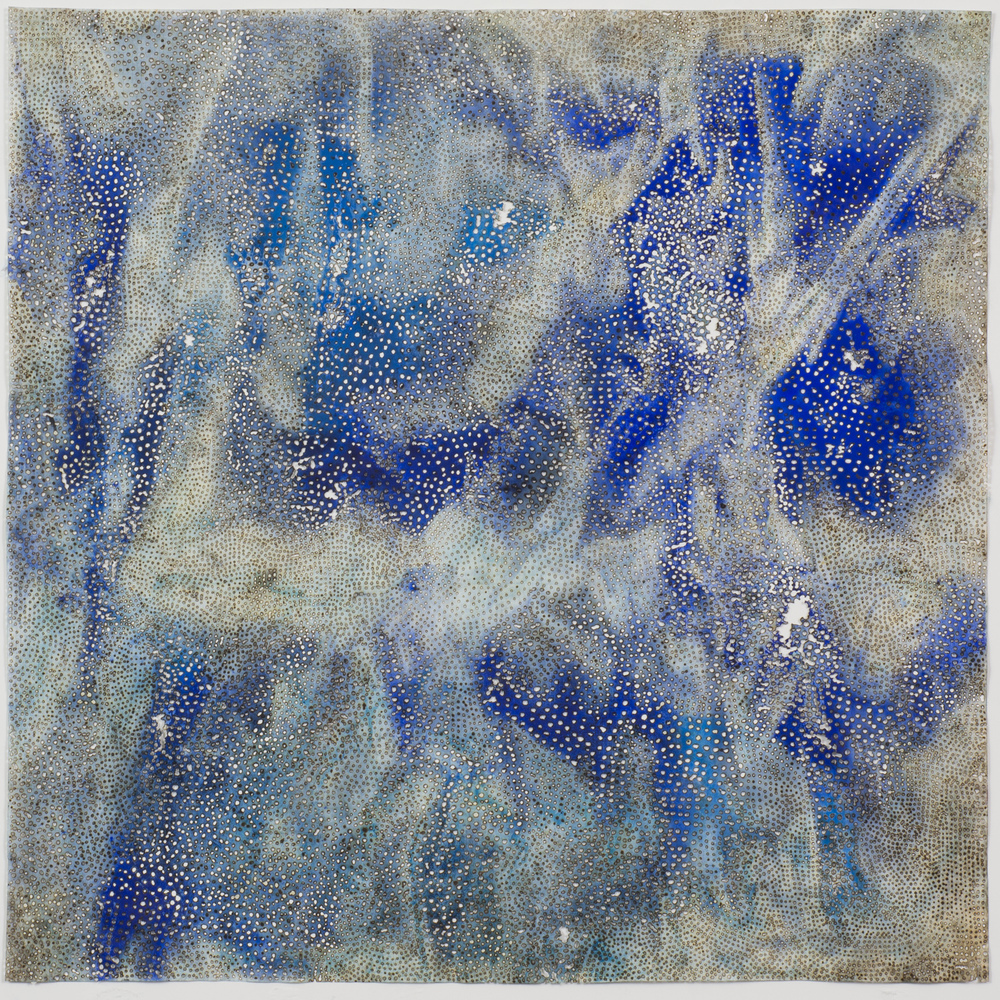 "Blue 7,  2015  solar-burned pigmented paper  22"" x 22"""