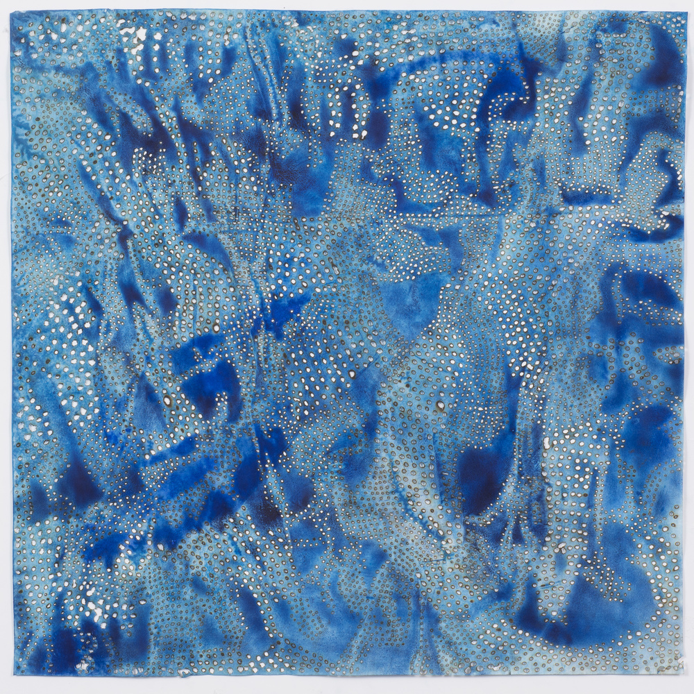 "Blue 9,  2015  solar-burned pigmented paper  22"" x 22"""