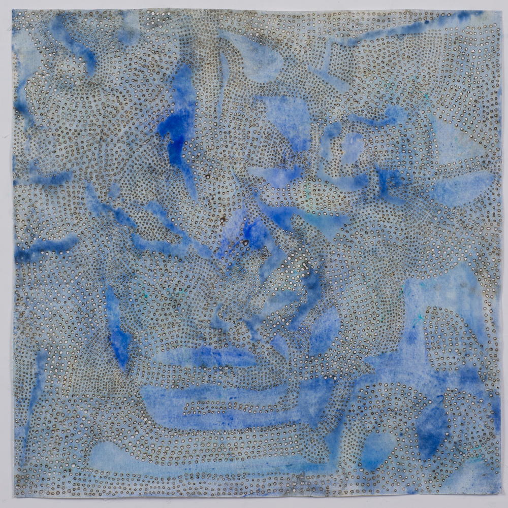 "Blue 12,  2015  solar-burned pigmented paper  22"" x 22"""