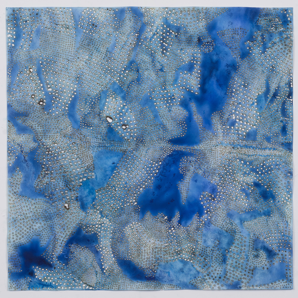 "Blue 11,  2015  solar-burned pigmented paper  22"" x 22"""