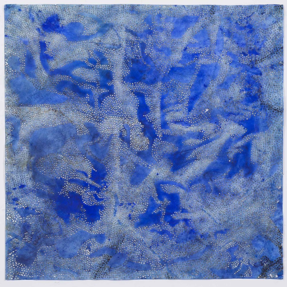 "Blue 10   2015  solar burn on pigmented paper  22"" x 22"""