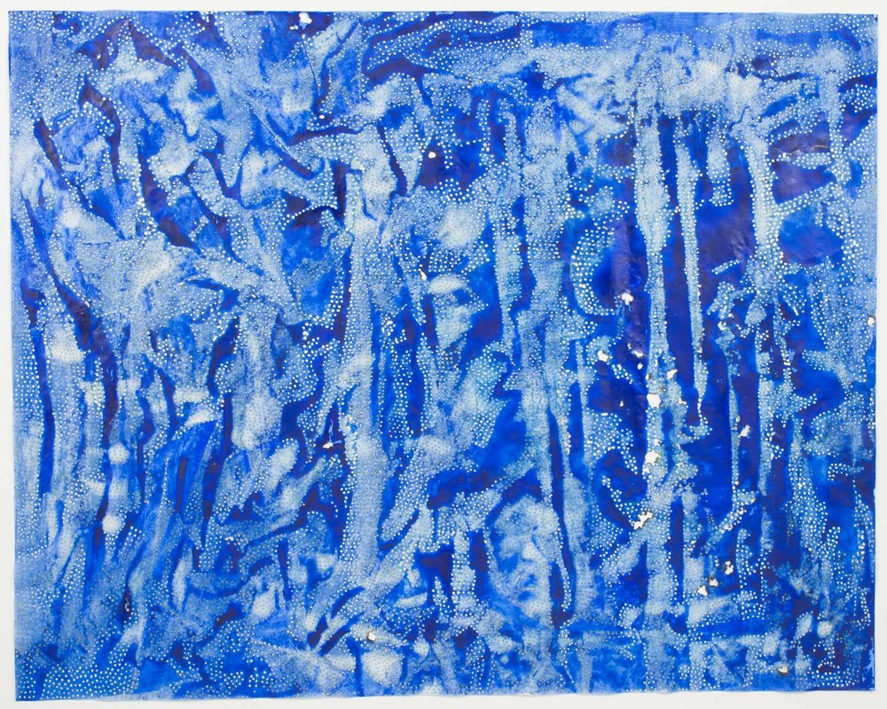 "Blue 52   2016  solar burn on pigmented paper  48"" x 60"""