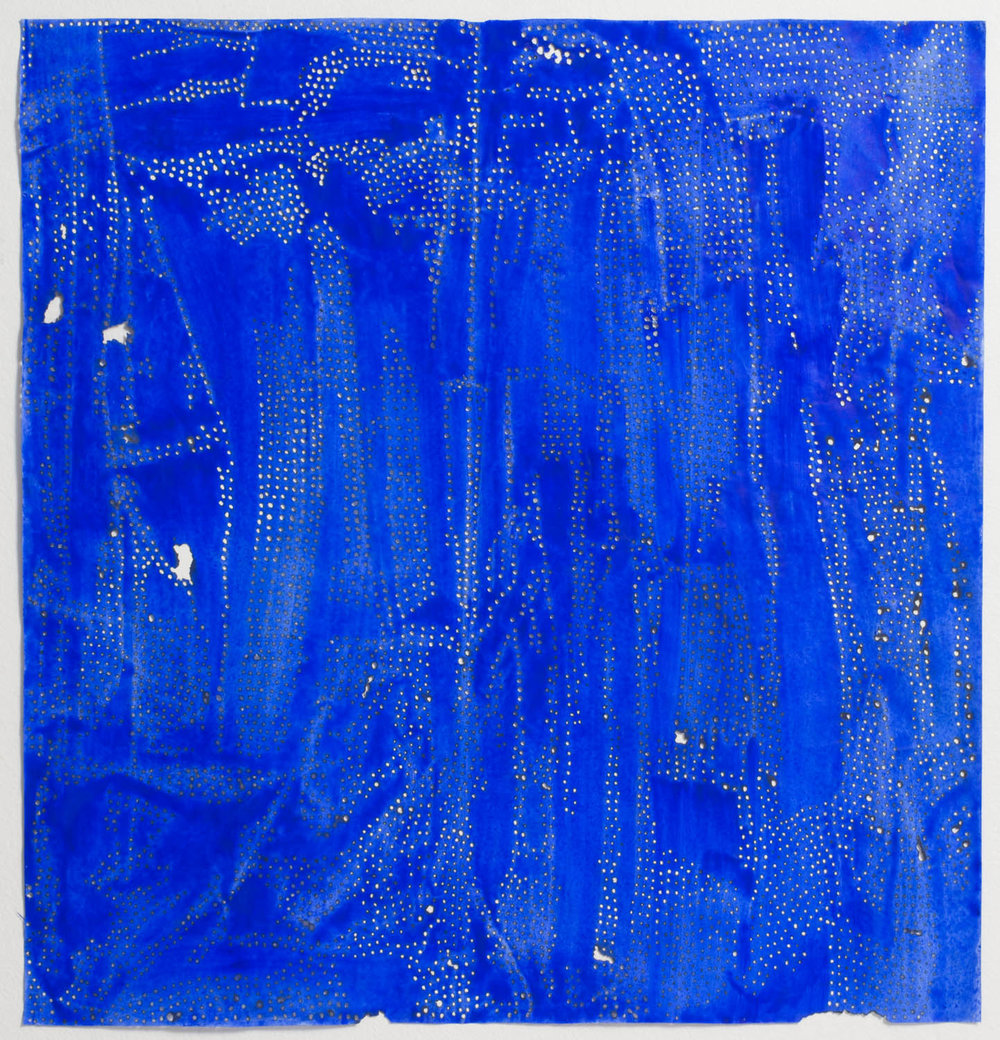 "Blue 53   2016  solar burn on pigmented paper  36"" x 34"""