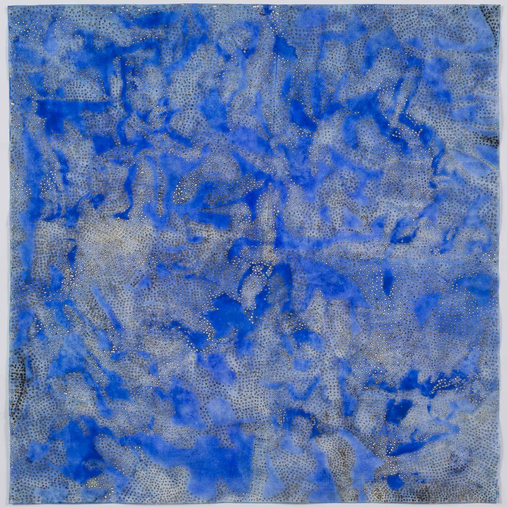 "Blue 6   2015  solar burn on pigmented paper  22"" x 22"""