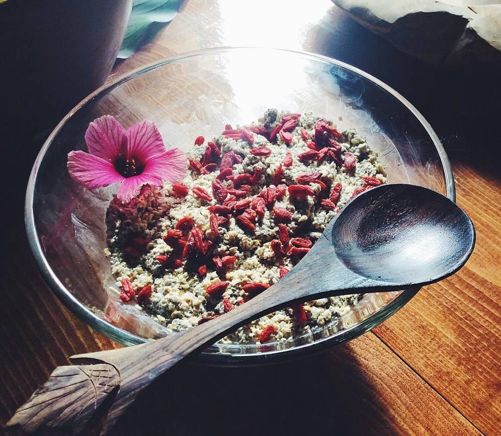 双子ちゃんシェフの作った、RAWグラノーラは、敷地内で採ったココナッツの実を砕いたものに、ゴジベリーを