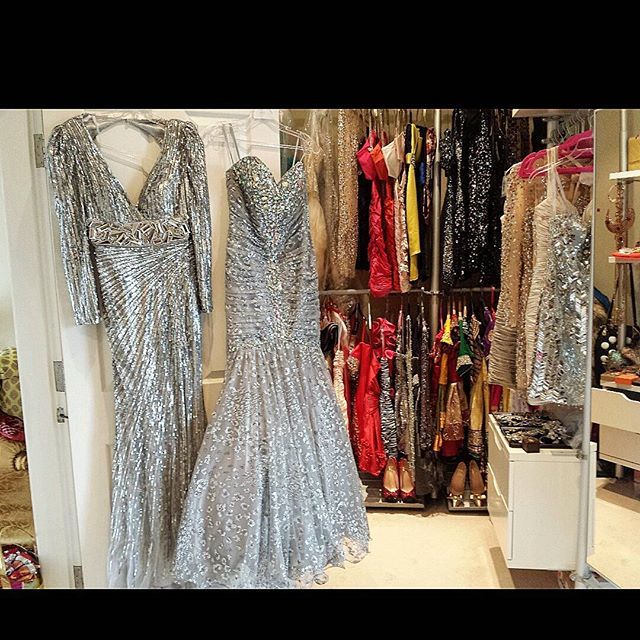 Can't decide which dress to wear for the event @macduggal or @jovanifashions ... 👗📀🎀 #desision #party #event #occation #dress #glam #sequins #shimmer #shiny #colour #metallic #crystals #silver #grey #closet #homelife #designer #dresses #newyorkcity #couture #glamorous